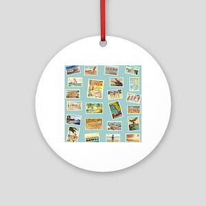 Vintage Florida Postcards Round Ornament