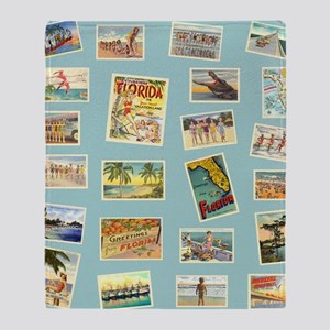 Vintage Florida Postcards Throw Blanket