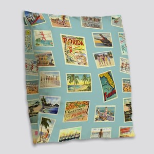 Vintage Florida Postcards Burlap Throw Pillow