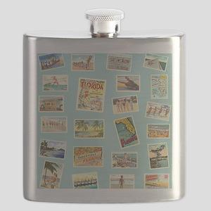 Vintage Florida Postcards Flask