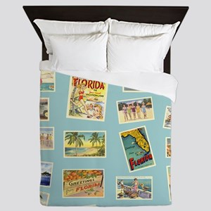 Vintage Florida Postcards Queen Duvet