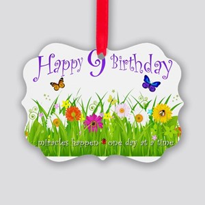 butterfly_birthday_card_9_years Picture Ornament