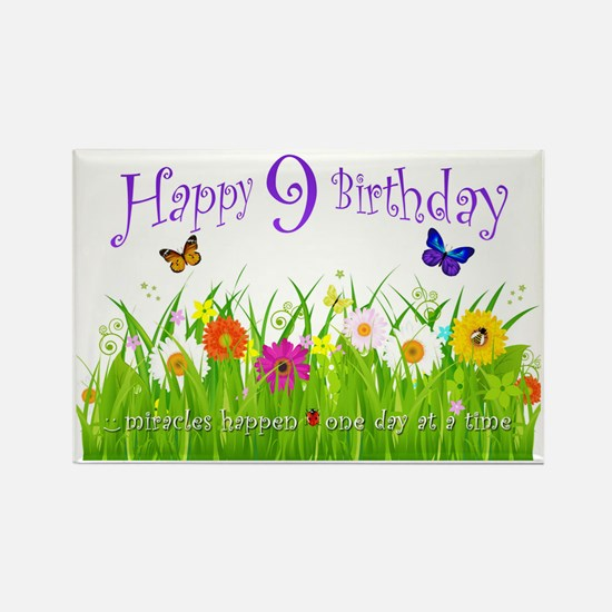 butterfly_birthday_card_9_years Rectangle Magnet