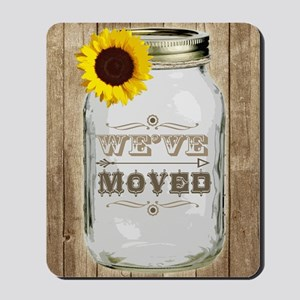 Rustic Change Of Address Mason Jar Sunfl Mousepad