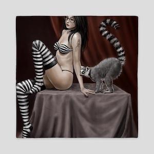 lemur and girl for poster 2 Queen Duvet