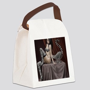 lemur and girl for poster 2 Canvas Lunch Bag