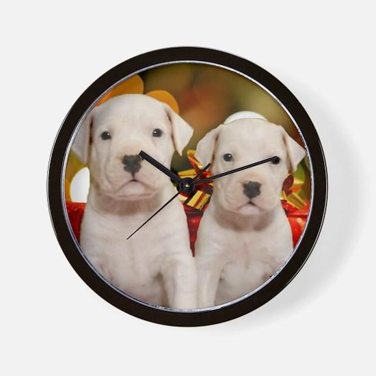 Christmas Dogo Puppies Wall Clock