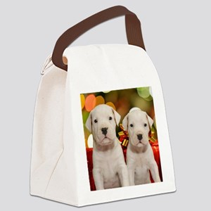 Christmas Dogo Puppies Canvas Lunch Bag