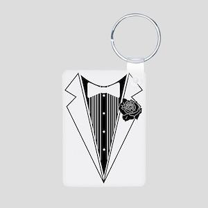 Tuxedo print  Aluminum Photo Keychain