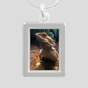 Bearded Dragon Silver Portrait Necklace