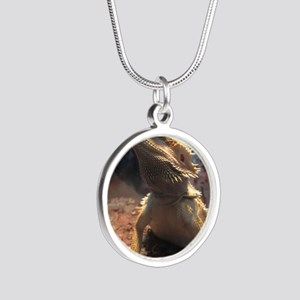 Bearded Dragon Silver Round Necklace