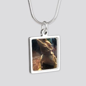 Bearded Dragon Silver Square Necklace