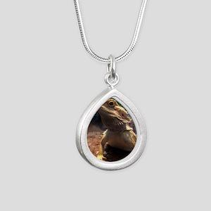 Bearded Dragon Silver Teardrop Necklace