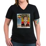 Haile Selassie I Women's V-Neck Dark T-Shirt