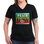 Rasta Peace Now Women's V-Neck Dark T-Shirt