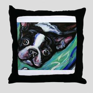 Boston Terrier eyes Throw Pillow
