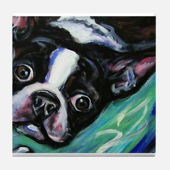Boston Terrier eyes Tile Coaster