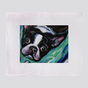 Boston Terrier eyes Throw Blanket