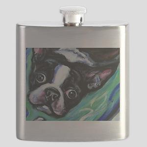 Boston Terrier eyes Flask