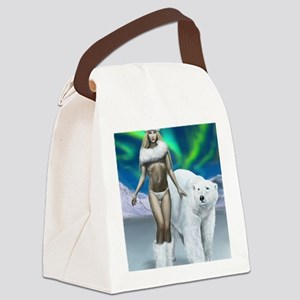 Lady and polar bear for posters Canvas Lunch Bag