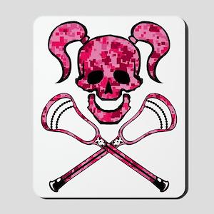 Lacrosse Pink Lady Digital Camo Skull Mousepad