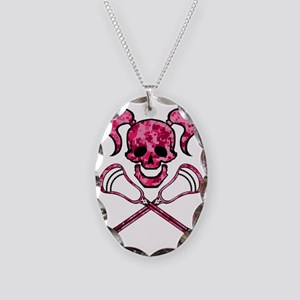 Lacrosse Pink Lady Digital Cam Necklace Oval Charm