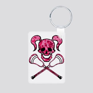 Lacrosse Pink Lady Digital Aluminum Photo Keychain