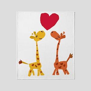 Funny Giraffe Love Throw Blanket