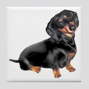 Black-Tan Dachshund  Tile Coaster