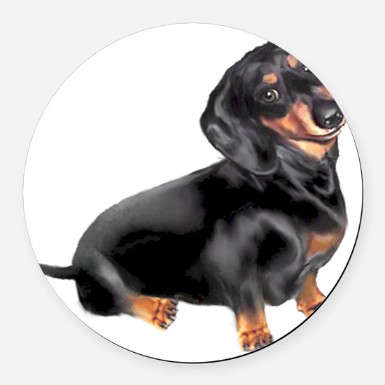 Black-Tan Dachshund  Round Car Magnet