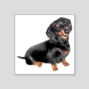 "Black-Tan Dachshund  Square Sticker 3"" x 3"""
