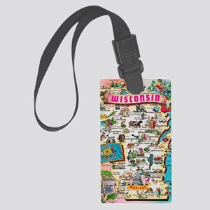 wisconsin map Large Luggage Tag