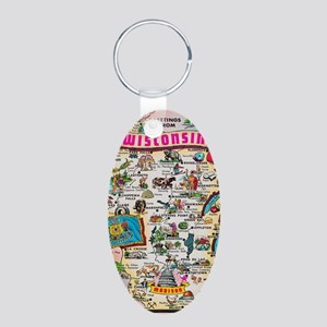 wisconsin map Aluminum Oval Keychain