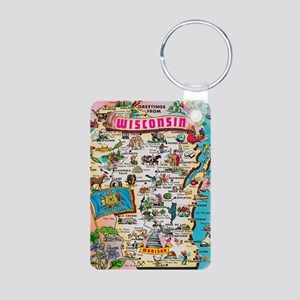 wisconsin map Aluminum Photo Keychain