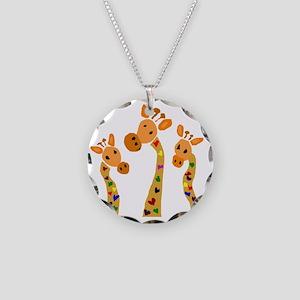 Whimsical Giraffe Art Necklace Circle Charm