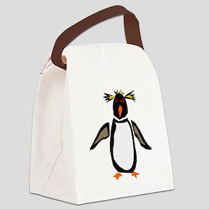 Funky Rockhopper Penguin Canvas Lunch Bag