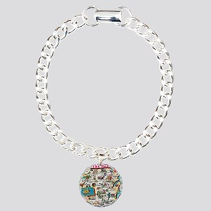 wisconsin map Charm Bracelet, One Charm