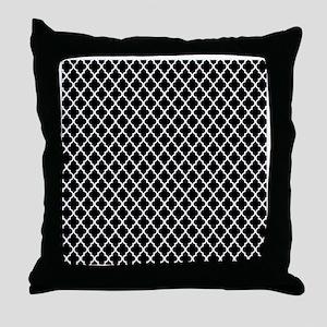 Black and White Quatrefoil Throw Pillow