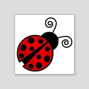 "Red Ladybug 2 Square Sticker 3"" x 3"""