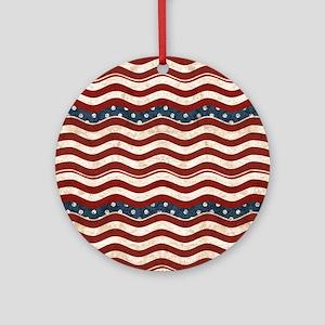 Wavy Patriotic Stripes Pattern Round Ornament