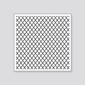"White and Black Quatrefoil Square Sticker 3"" x 3"""