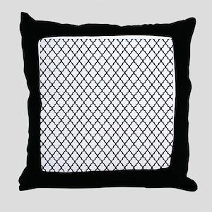 White and Black Quatrefoil Throw Pillow
