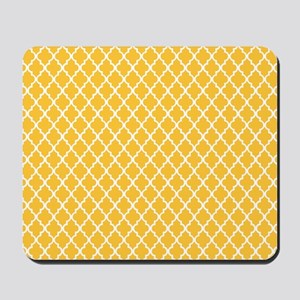 Yellow Quatrefoil Mousepad