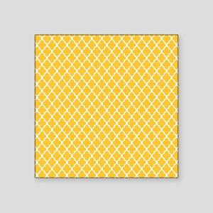 "Yellow Quatrefoil Square Sticker 3"" x 3"""