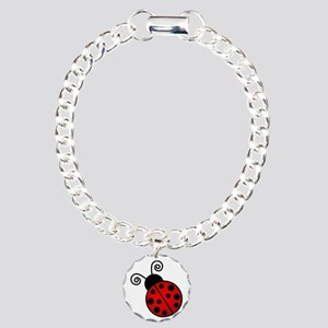 Red Ladybug Charm Bracelet, One Charm