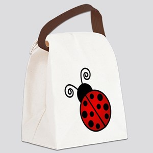 Red Ladybug Canvas Lunch Bag
