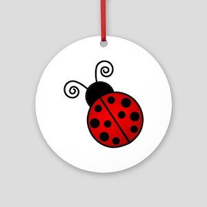 Red Ladybug Round Ornament