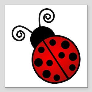 "Red Ladybug Square Car Magnet 3"" x 3"""