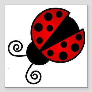 "Red Ladybug 1 Square Car Magnet 3"" x 3"""