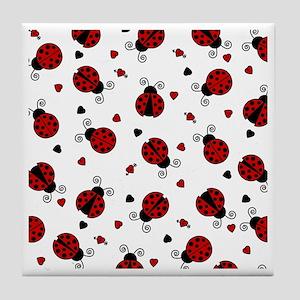 Cute Red Ladybug Print Tile Coaster